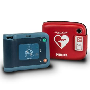 Picture of Philips Heart Start Defibrillator FRx (English) with red case, pre-installed Pads and Battery