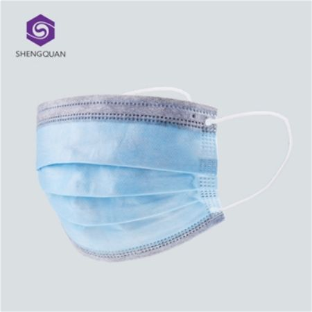 Picture of 3 ply disposable face masks (ASTM 1) with Biomass Graphene